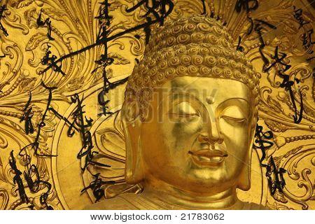 close up of buddha at shanti stupa in darjeeling