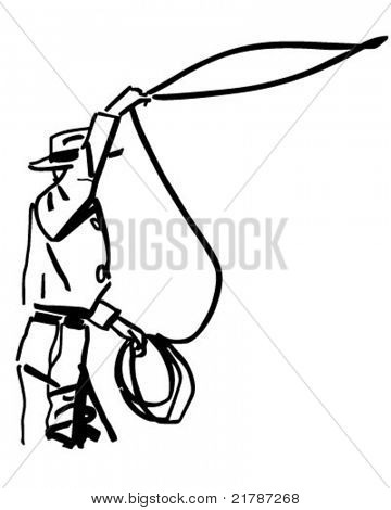 Cowboy Throwing Lasso - Retro Clipart Illustration