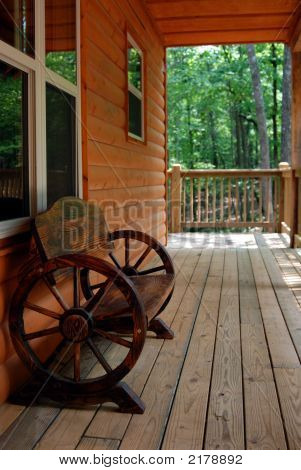 Rustic Wagon Wheel Bench