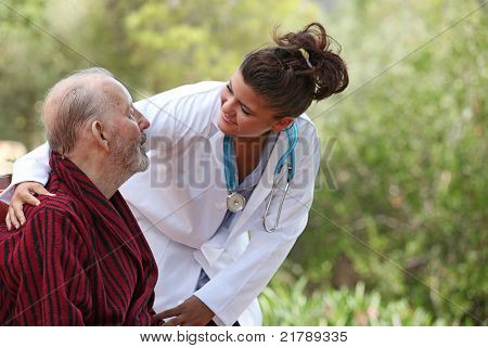 nurse showing care to patient