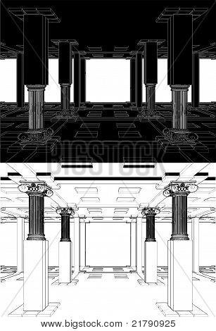abstrakt Interieur mit antiken Spalten Vektor