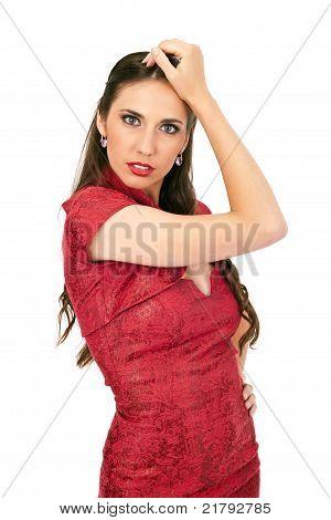 Sexy Brunette In Dress