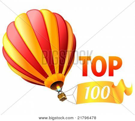 hot air balloon with top 100 sign on banner