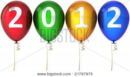 New 2012 Year party balloons multicolored decoration