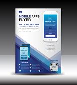 Mobile Apps Flyer Template. Business Brochure Flyer Design Layout. Smartphone Icons Mockup. Applicat poster