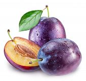 Plums with plum leaf and water drops. File contains clipping path. poster
