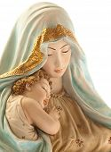 picture of mother child  - virgin with jesus on white background - JPG