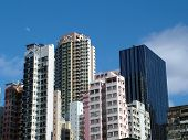 foto of urbanisation  - Closely built City Apartments and Office Skyscrapers Hong Kong - JPG