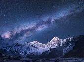 Milky Way. Fantastic Night Landscape With Bright Milky Way poster