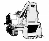 pic of jcb  - Perspective illustration of a digger in black and white - JPG