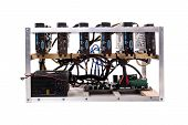 Cryptocurrency Bitcoin Ethereum Altcoin Graphic Card Miner Mining Rig. poster