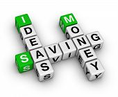 stock photo of save money  - ideas saving money crossword  - JPG