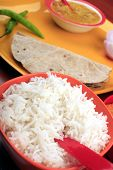 stock photo of tadka  - Indian food with chapatti rice and dal