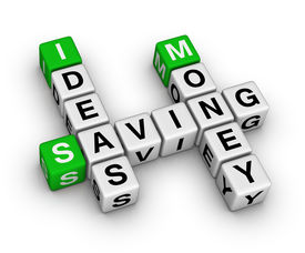 stock photo of save money  - ideas saving money crossword  - JPG