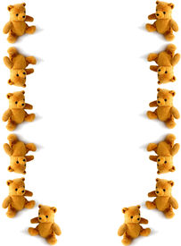 picture of stuffed animals  - teddies tumbling down the page - JPG