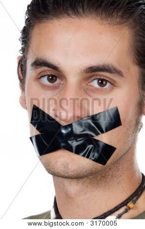 Man With Masking Tape On Mouth