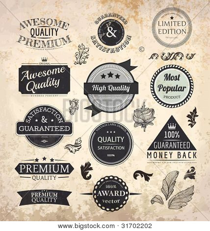 Collection of Premium Quality and Guarantee Labels with retro vintage styled design and old paper grunge texture