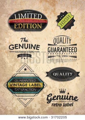 set of retro style labels