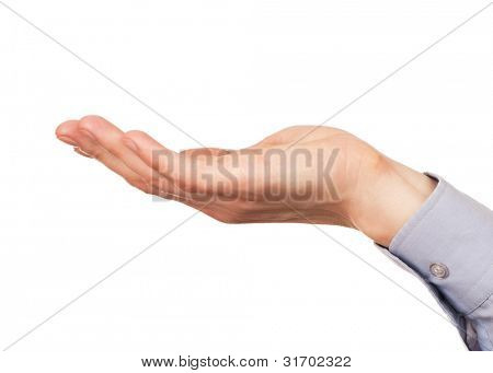 Open palm hand gesture of male hand.Isolated on white background.