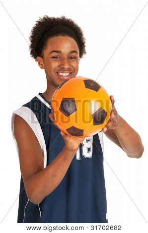 Black basketball player with orange ball