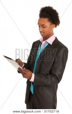 Black business man with tablet PC isolated over white background