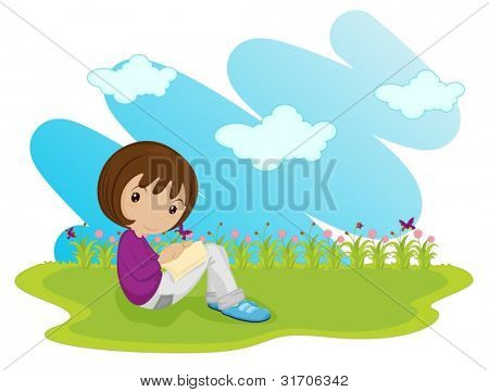 girl sitting alone in field