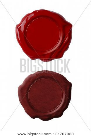 Red wax seals set isolated on white