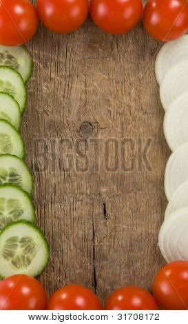 healthy vegetable food over wood background board