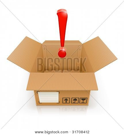 opened box with exclamation mark vector illustration isolated on white background EPS10. Transparent objects and transparency mask used for shadows and lights drawing.