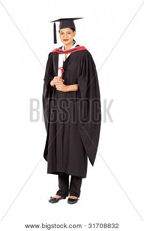 female indian graduate isolated on white background