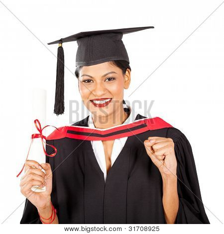 female indian graduate isolated on white background