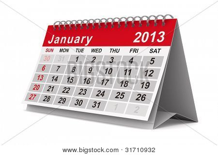2013 year calendar. January. Isolated 3D image