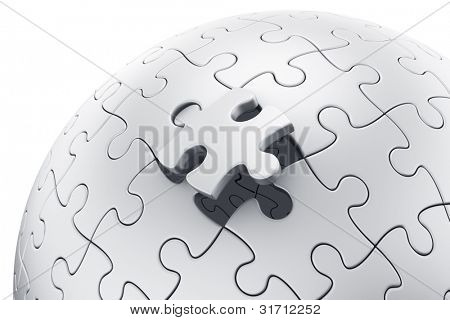 3d rendering of a spherical puzzle with a single piece disconnected