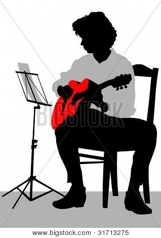 drawing of a man with an acoustic guitar