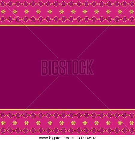 Artistic colorful design border with blank pink space
