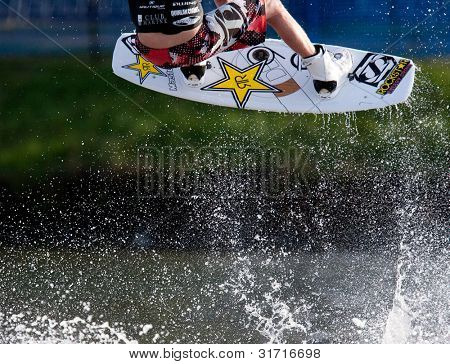 MELBOURNE, AUSTRALIA - MARCH 12: Closeup of action from the wakeboarding event at the Moomba Masters on March 12, 2012 in Melbourne, Australia