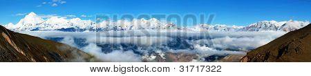 view from thorung la pass annapurna himal to dhaulagiri himal