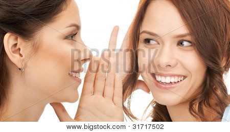 bright picture of two women spreading gossip
