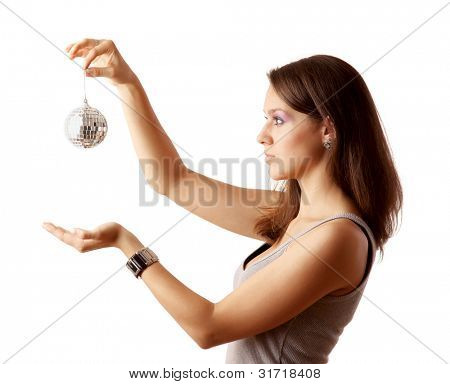 girl with disco ball, isolated on white background