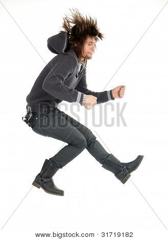 Crazy Man Jumping Like Rock Musician