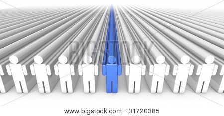3D illustration of icon people extruded to infinty with blue person in the middle.