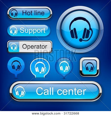 Support web blue buttons for website or app. Vector eps10.