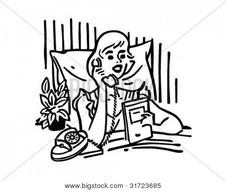 Woman Calling Room Service - Retro Clipart Illustration