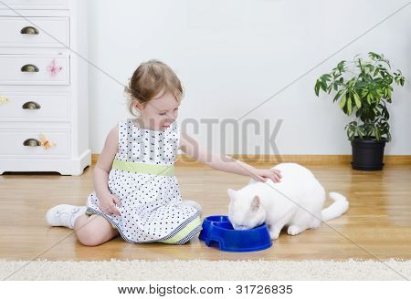 Little Cute Girl Feeding A White Cat