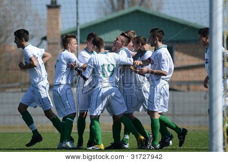 KAPOSVAR, HUNGARY - MARCH 17: Kaposvar players celebrate at the Hungarian National Championship under 18 game between Kaposvar (white) and Videoton (blue), March 17, 2012 in Kaposvar, Hungary.