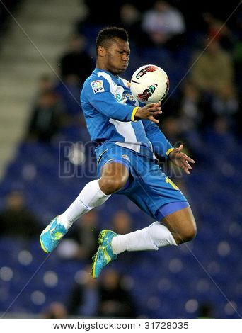 BARCELONA - MARCH 19: Kalu Uche of RCD Espanyol in action during a Spanish League match against Racing de Santander at the Estadi Cornella on March 19, 2012 in Barcelona, Spain
