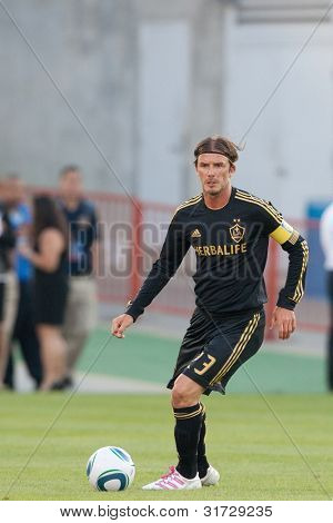 LOS ANGELES - JULY 16: Los Angeles Galaxy M David Beckham #23 in action during the World Football Challenge game on July 16 2011 at the Los Angeles Memorial Coliseum in Los Angeles.