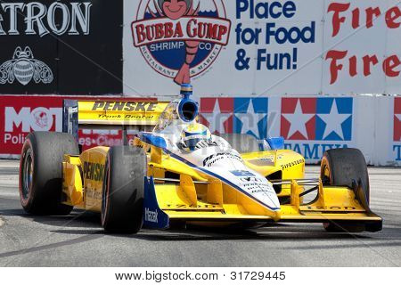 LONG BEACH - APRIL 17: Ryan Briscoe driver of the #6 Penske Truck Rental Team Penske Dallara Honda races during the IndyCar Series Toyota Grand Prix on April 17 2011 in Long Beach.