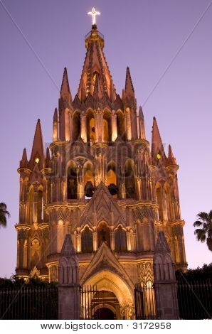 Night Church Lights Parroquia Archangel Church San Miguel Mexico