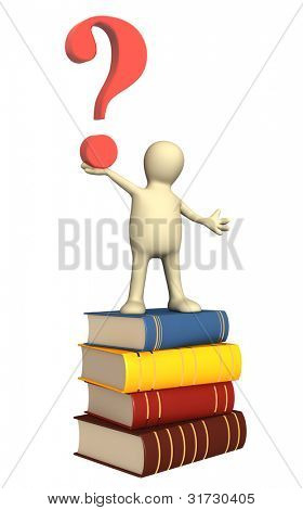 3d puppet with books and question mark. Isolated over white